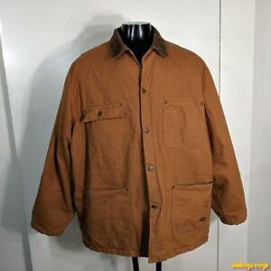 BRAZOS Denim Cotton WORK Jacket Mens Size XXXL 3XL Brown insulated zippered