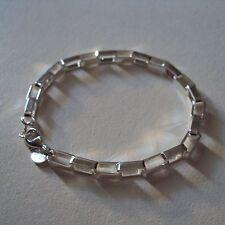 Bracelet plaqué argent sterling 925 rhodié, maille rectangulaire, neuf