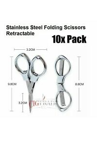 Folding Scissors Retractable Stainless Steel 10x Pack