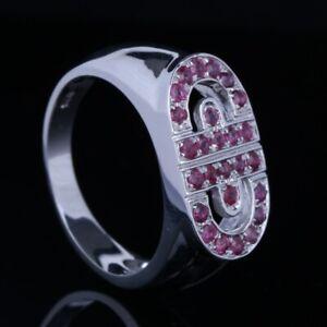 Stylish Jewelry Fashion Wide Engagement Wedding Ruby Band Ring 14K White Gold