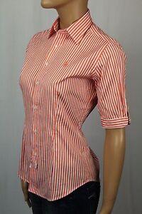 Ralph Lauren Orange Striped Slim Fit Blouse Shirt NWT