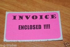 Lot Of 100 Pink Invoice Enclosed Shipping Stickers Care 2X1 Inch