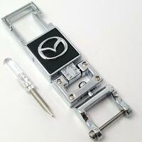 Mazda car chrome metal keyring key safe fob case cover badge holder chain tags