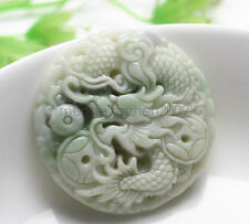 New Natural Charm Lantian Jade Hand-carved Dragon Playing bead Round Pendant