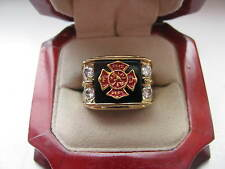 "Superb NEW Mens ""Fire Fighter"" CREST Gold Ring"