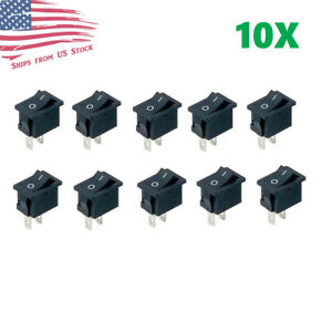 10PCS Mini Rocker Switch 2 Pin ON-OFF SPST 125VAC/6A 250VAC/3A Black 117S US