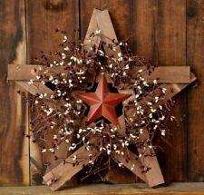 New Primitive Country Wood RUSTY BARN STAR BERRY WREATH  Burgundy/Cream Berries