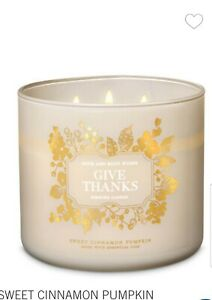 BATH & BODY WORKS SWEET CINNAMON PUMPKIN GIVE THANKS 3-WICK CANDLE THANKSGIVING