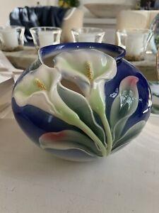 FRANZ PORCELAIN Blue Vase with Lillies