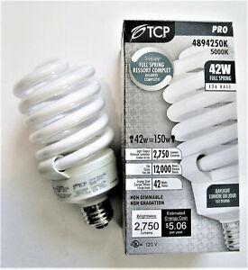 42W 5000K Compact Fluorescent Full Spiral Light Bulb TCP 4894250K CFL 150W Equal