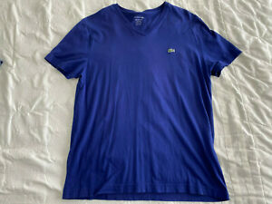Lacoste Solid V Neck T-Shirt Sz Large Royal Blue 5 Short Sleeve Regular Fit Mens