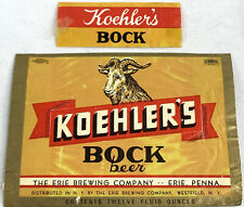 Vintage Koehler Bock Beer Bottle Can Label Erie Penn Brewing Ram 12oz