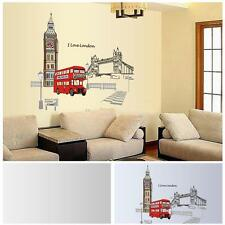 Red Double-decker Bus in London Removable Creative Wall Sticker 60*90cm Decor