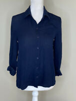 Alice + Olivia Women's Button Up Silk Shirt Size XS Navy Blue M8