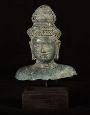 """Antico Bronzo Stile Indiano Vishnu testa statua-Protettore & Preserver - 25cm/10"""""""