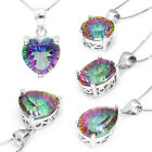 Genuine Fire Rainbow Topaz Pendant Triangle Heart Pear Round Oval 925 Silver