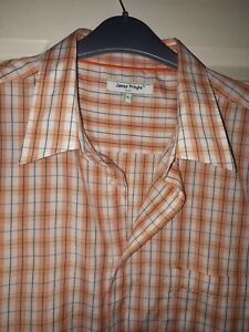 James Pringle Gold Orange And White Check Short Sleeve Shirt Size Large