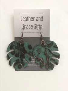 Turquoise Mostera Leaf Leather Earrings Copper