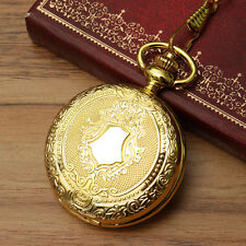 Vintage Antique Gold Shield Pendant Quartz Pocket Watch Necklace Retro Chain US