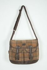 Barbour Tarras Leather Cotton Canvas Brown Messenger Bag