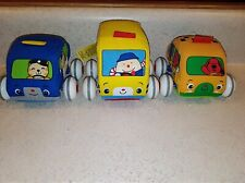 MELISSA & DOUG K's KIDS Bus Taxi Police Pull Back Plush Car Toys LOT OF 3 EUC