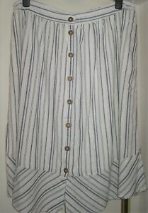 NWT LADIES FAT FACE SIZE 18 IVORY STRIPE LINEN MIX SKIRT