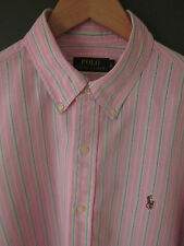 "RECENT POLO RALPH LAUREN SHIRT (L-44/46"") PINK CANDYSTRIPE COTTON LONG-SLEEVE"