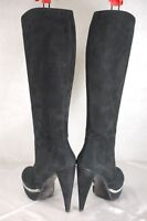 BRUNO MAGLI MADE IN ITALY HIGH HEEL BLACK SUEDE&CHAIN WOMEN BOOTS EU 40 US 10