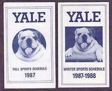 "1987 Yale Bulldog 3 1/2 x 5 3/4""  Fall Sports & 1987-88 Winter Sports Schedules"