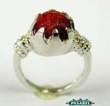 New Sterling Silver Coral Ring Size 5