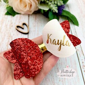 Large Personalised Glitter Bow, name hair clip, school bows, baby headband