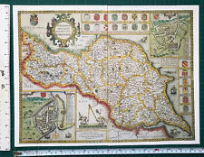 Old Antique Tudor map North, East Yorkshire, England: John Speed 1600's Reprint