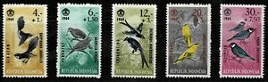 Indonesia 1965 Social Day - Birds - Set Of Five Stamps - MLH
