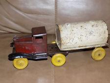 WYANDOTTE 1920s GASOLINE TANKER Tractor Trailer Truck Pressed Steel Antique Toy