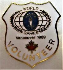 1989 WORLD POLICE And FIRE GAMES VANCOUVER VOLUNTEER Pin