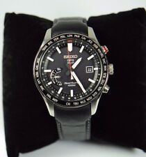 SEIKO SSF007 SPORTURA GPS SOLAR WORLD TIME LEATHER STRAP MENS WATCH