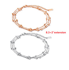 """Smooth Bead Chain Ankle Bracelet Pe13 10"""" Elegant Women Stainless Steel Anklets"""