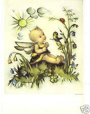 Adorable-Cute Bumblebee Fantasy Child-Bird-Flowers-Signed Hummel-Art Postcard