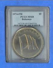 1974-FM Bahamas $5.00 PCGS MS68   POP 3  **FREE SHIPPING IN THE US**