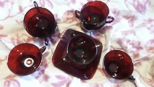Vintage Ruby Red Glass Coffee or Punch Cups Plus 2 Square Saucers