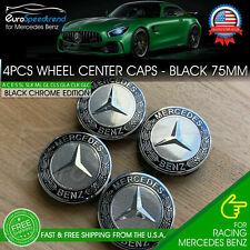 4x Mercedes Benz Black Wheel Center Hub Caps Emblem 75Mm Amg Laurel Wreath (Fits: Mercedes-Benz)
