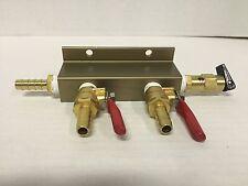 2-Way CO2 Distribution w/ Shut Off And Safety Valve - Kegerator Air Regulator