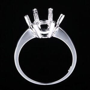10K White Gold Pave Prong Semi Mount Engagement Wedding Ring Setting Round 9mm
