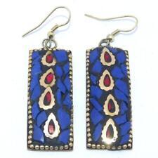 Charming Lapis & Coral Stone Tibetan Jewelry Handmade Fashion Earrings NEP469