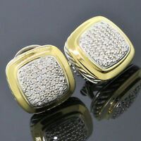 David Yurman Sterling Silver 18K Yellow Gold Pave Diamond 14mm Albion Earrings