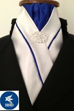 HHD White Satin Dressage Pre-tied Show Stock Royal Blue Satin Piping StockPin