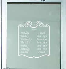 Decorative Business Store Hours Sign Vinyl Decal Sticker 13x15 Window Door Glass