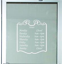 Decorative Business Store Hours Sign Vinyl Decal Sticker 13x15 Window Door Glass