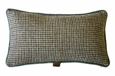 Oatmeal & Moss Houndstooth / Solid Brown Green wool/silk piping, 48x28