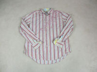 Robert Graham Button Up Shirt Adult Extra Large Red Pink Striped Flip Cuff Men *